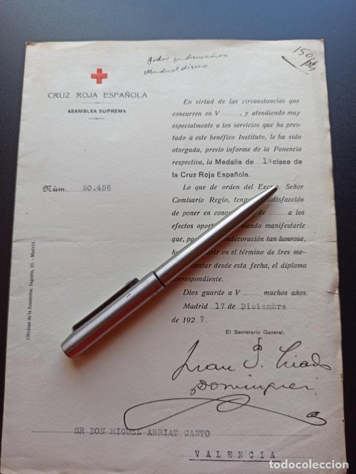 Militaria: 6 documentos medallas Cruz Roja. 1927. MMI - Foto 4 - 212744070