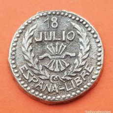 Militaria: FALANGE 18 DE JULIO ESPAÑA LIBRE PLOMO ANTIGUA MEDALLA CONMEMORATIVA GUERRA CIVIL MIDE 2,80 CMS.. Lote 213684711