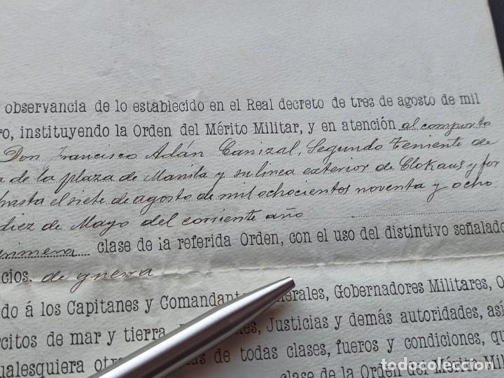 Militaria: Concesión Medalla Mérito Militar. Filipinas. 1898. Vea otros artículos del mismo militar - Foto 3 - 213998657