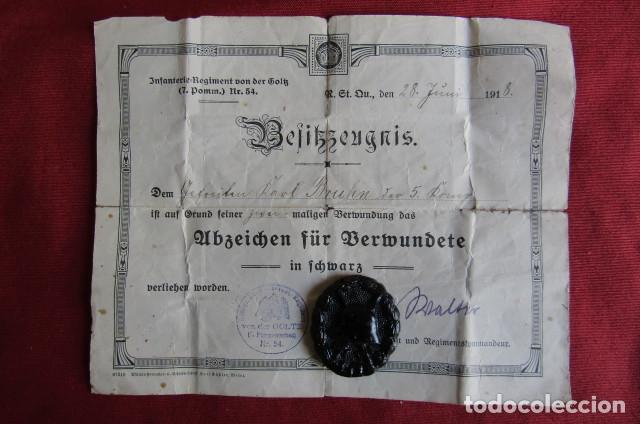 MEDALLA ALEMANA DISTINTIVO INSIGNIA DE HERIDO EN COMBATE I PRIMERA GUERRA MUNDIAL CON SU DIPLOMA (Militar - Medallas Internacionales Originales)