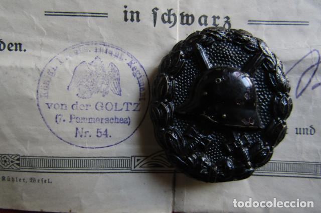 Militaria: Medalla alemana Distintivo insignia de herido en combate I primera guerra mundial con su diploma - Foto 2 - 214037526