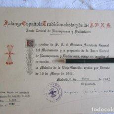 Militaria: CONCESION MEDALLA VIEJA GUARDIA CON ASPA Y ANGULO BLANCO. Lote 214076163