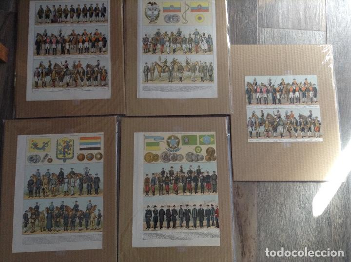 LOTE 5 LAMINAS DE UNIFORMES INTERNACIONALES CHINA, BRASIL, ESPAÑA, COLOMBIA (Militar - Reproducciones y Réplicas de Medallas )