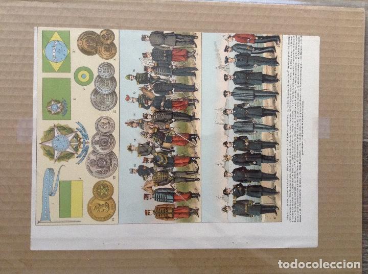Militaria: Lote 5 laminas de uniformes internacionales China, Brasil, España, Colombia - Foto 4 - 214167387