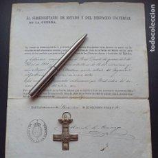 Militaria: CRUZ DE PLATA DEL MÉRITO MILITAR.1872. CONCESIÓN Y MEDALLA. VER MÁS ARTÍCULOS DE ÉSTE MILITAR. Lote 214234031