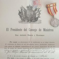Militaria: MEDALLA EN PLATA DEL CENTENARIO DEL BRUCH CON DOCUMENTO DE CONCESION. Lote 215160587