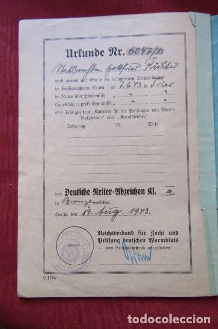 Militaria: Medalla alemana Distintivo insignia caballería II segunda guerra mundial ejercito alemán con diploma - Foto 18 - 215881277