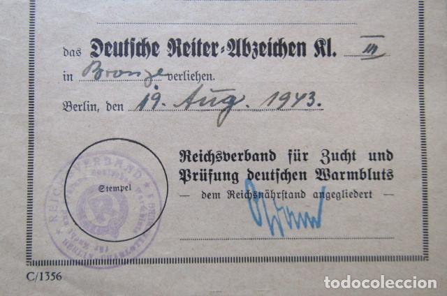 Militaria: Medalla alemana Distintivo insignia caballería II segunda guerra mundial ejercito alemán con diploma - Foto 19 - 215881277