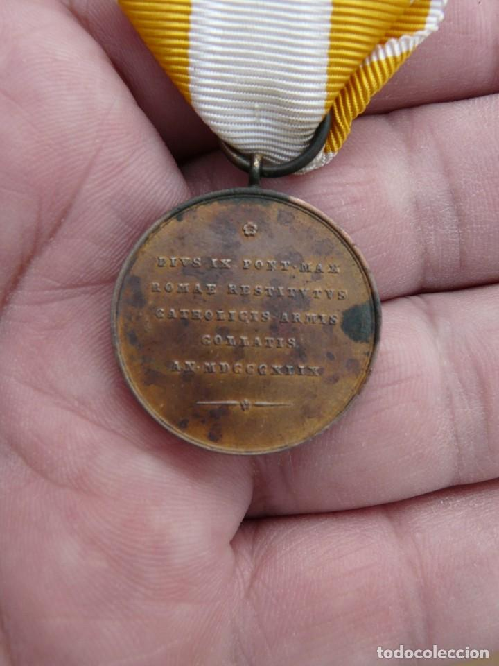 Militaria: MEDALLA RESTAURACION SOLIO PONTIFICIO 1850 - BRONCE - TAMAÑO PRINCESA - Foto 3 - 216386731