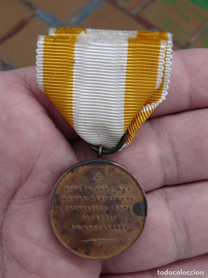 Militaria: MEDALLA RESTAURACION SOLIO PONTIFICIO 1850 - BRONCE - TAMAÑO PRINCESA - Foto 4 - 216386731