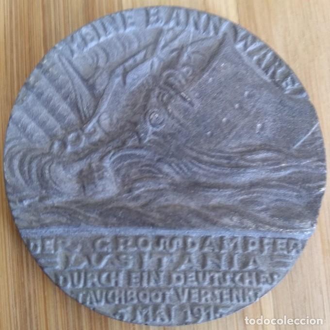 INTERESANTE MEDALLON ANTIGUO PRIMERA GUERRA MUNDIAL DEL HUNDIMIENTO DEL S.S. LUSITANIA 1915 (Militar - Medallas Internacionales Originales)