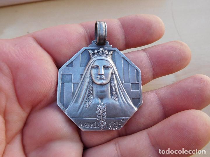 Militaria: Medalla de plata Barcelona a quienes se alzaron en armas contra la república. Guerra civil. Mares. - Foto 6 - 217697373