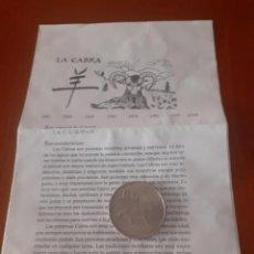 Militaria: MEDALLA DEL HOROSCOPO CHINO CABRA CON DIPTICO EXPLICATIVO DEL HOROSCOPO. Lote 218189090