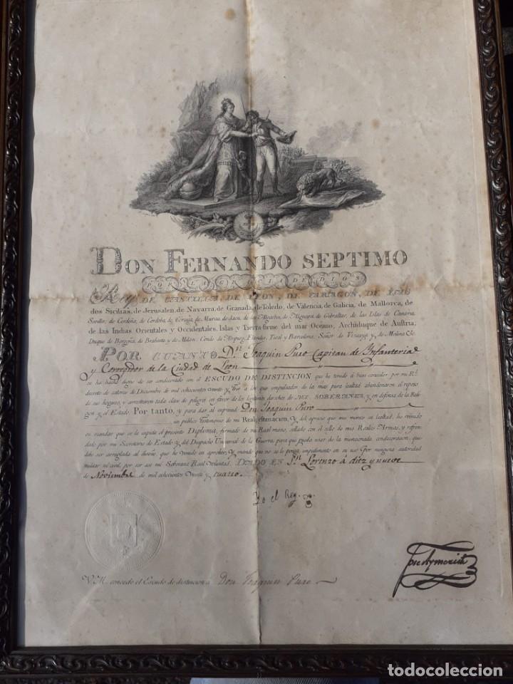 CONCESIÓN ESCUDO FIDELIDAD AÑO 1824 FIRMA DEL REY FERNANDO VII (Militar - Medallas Españolas Originales )
