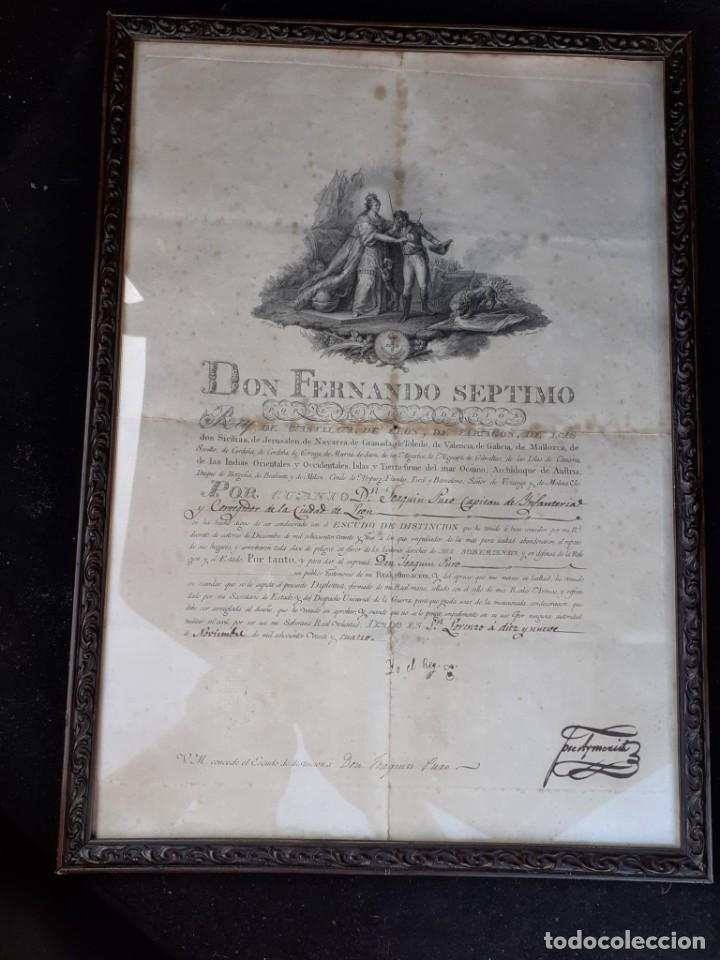 Militaria: CONCESIÓN ESCUDO FIDELIDAD AÑO 1824 FIRMA DEL REY FERNANDO VII - Foto 3 - 218435963