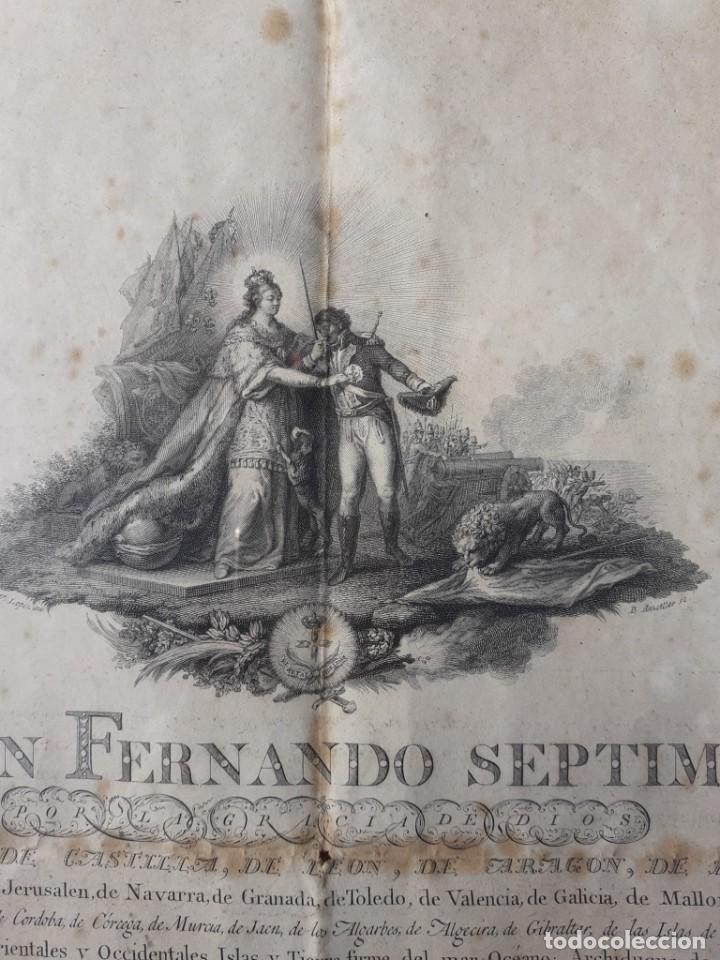 Militaria: CONCESIÓN ESCUDO FIDELIDAD AÑO 1824 FIRMA DEL REY FERNANDO VII - Foto 7 - 218435963