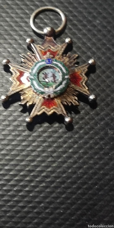 MINIATURA DE LA ORDEN DE ISABEL LA CATÓLICA PLATA DORADA (Militar - Medallas Españolas Originales )