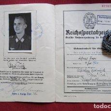 Militaria: III TERCER REICH ALEMÁN MEDALLA ALEMANA II SEGUNDA GUERRA MUNDIAL DISTINTIVO DE DEPORTE CON DIPLOMA. Lote 206916856