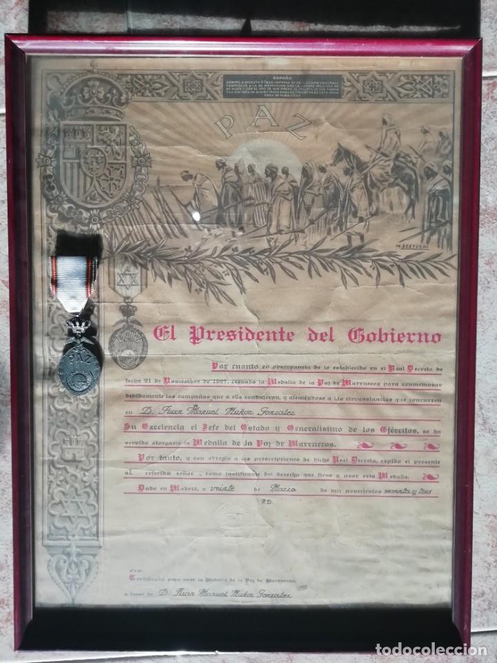 CONCESION Y MEDALLA DE LA PAZ DE MARRUECOS (Militar - Medallas Españolas Originales )