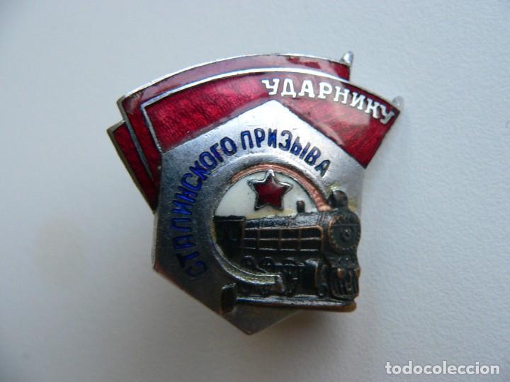 URSS DISTINTIVO FERROVIARIO SOVIÉTICO LLAMAMIENTO DE STALIN (Militar - Medallas Extranjeras Originales)