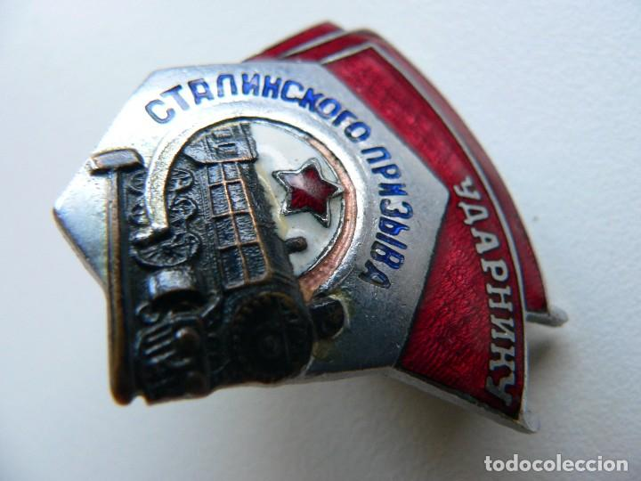 Militaria: URSS DISTINTIVO FERROVIARIO SOVIÉTICO LLAMAMIENTO DE STALIN - Foto 2 - 221513002