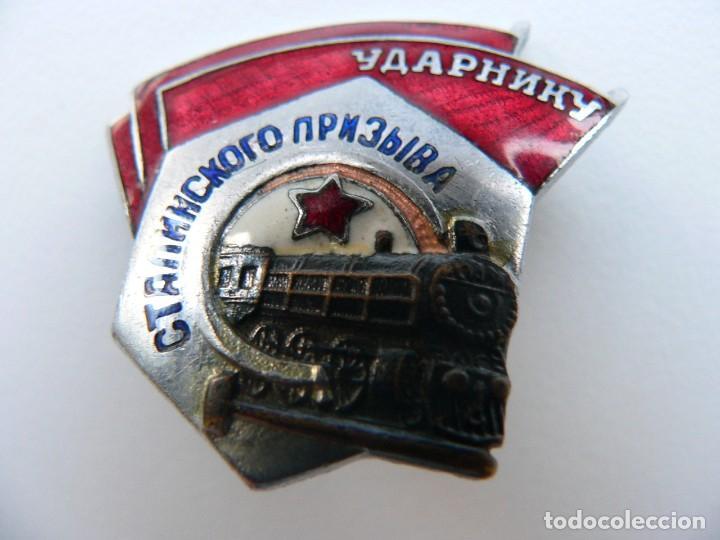 Militaria: URSS DISTINTIVO FERROVIARIO SOVIÉTICO LLAMAMIENTO DE STALIN - Foto 3 - 221513002