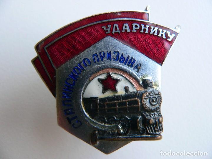 Militaria: URSS DISTINTIVO FERROVIARIO SOVIÉTICO LLAMAMIENTO DE STALIN - Foto 6 - 221513002