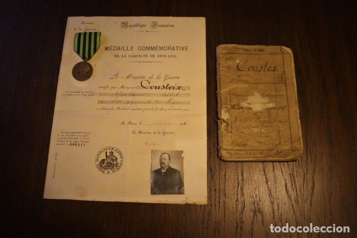 GUERRA FRANCO-PRUSIANA 1870-1871. MEDALLA + DIPLOMA + FOTO + CARTILLA MILITAR. FRANCIA. (Militar - Medallas Extranjeras Originales)