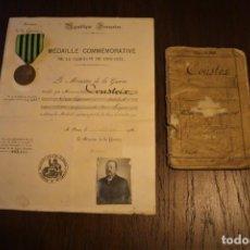 Militaria: GUERRA FRANCO-PRUSIANA 1870-1871. MEDALLA + DIPLOMA + FOTO + CARTILLA MILITAR. FRANCIA.. Lote 222028300