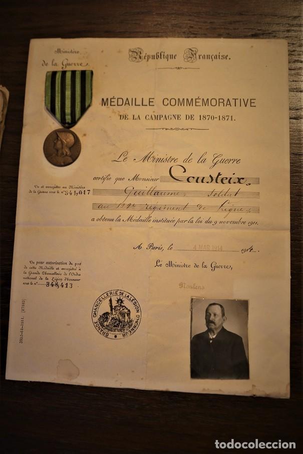 Militaria: Guerra franco-prusiana 1870-1871. Medalla + diploma + foto + cartilla militar. Francia. - Foto 2 - 222028300