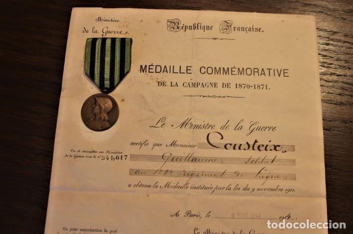 Militaria: Guerra franco-prusiana 1870-1871. Medalla + diploma + foto + cartilla militar. Francia. - Foto 3 - 222028300