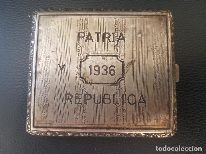 Militaria: ANTIGUA PITILLERA DE LA REPUBLICA PATRIA Y REPUBLICA - Foto 7 - 222115151