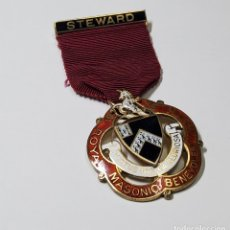 Militaria: MEDALLA MASONICA INGLESA PLATA MACIZA.FUNDACION STEWARD PARA CHICOS DE 1938.COMO NUEVA. Lote 222827126