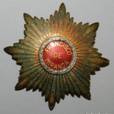 Militaria: GRAN PLACA DE LA ORDEN DE FRANCISCO DE MIRANDA . PRIMERA CLASE. REALIZADA EN PLATA 925. PESO 70,49. Lote 223526381