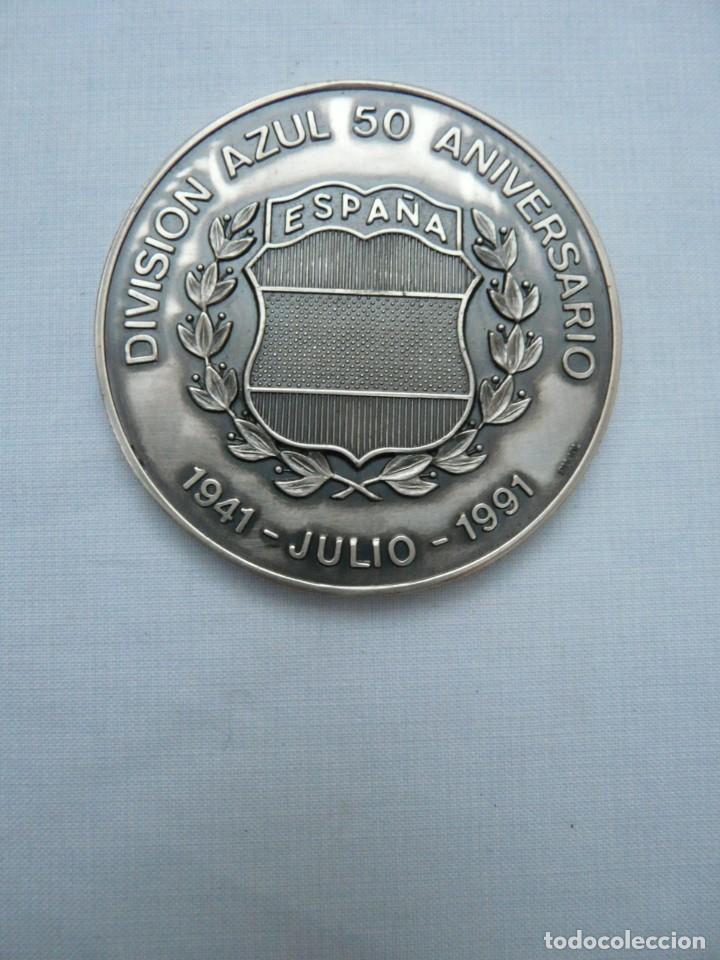 MEDALLA 50 ANIVERSARIO DE LA DIVISION AZUL 1941- 1991 ACUÑADA EN PLATA DE LEY (Militar - Medallas Españolas Originales )