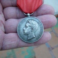 Militaria: MEDALLA MAYORIA EDAD DE ALFONSO XIII -1902 - PLATA. Lote 225083110