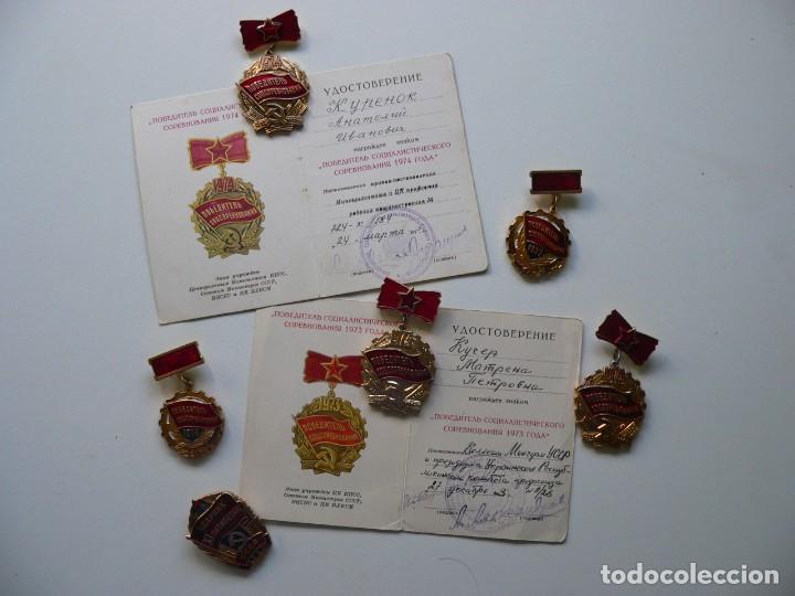 URSS LOTE DE DISTINTIVOS GANADOR Y UDARNIK (ALGUNOS CON DOCUMENTOS) (Militar - Medallas Extranjeras Originales)