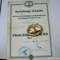 Militaria: INSIGNIA U-BOOT-KRIEGSABZEICHEN 1939 (GOLD)TERCER REICH. Lote 268578844