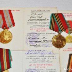 Militaria: LOTE QUATRO MEDALLAS I CINCO PAPELES PARA UN VETERANO.IVANOV VICTOR .URSS. Lote 228265755