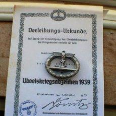 Militaria: INSIGNIA U-BOOT-KRIEGSABZEICHEN 1939 TERCER REICH. Lote 264839644