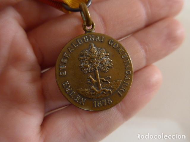 Militaria: Antigua medalla carlista vasca del arbol de gernika, 1875, original. - Foto 6 - 231394840