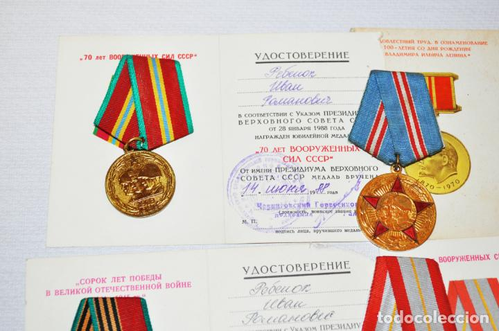 Militaria: Lote 5 medallas sovieticas para un veterano de SGM. Rebenok .con papeles .URSS - Foto 2 - 232493420