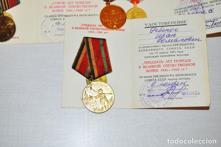 Militaria: Lote 5 medallas sovieticas para un veterano de SGM. Rebenok .con papeles .URSS - Foto 3 - 232493420