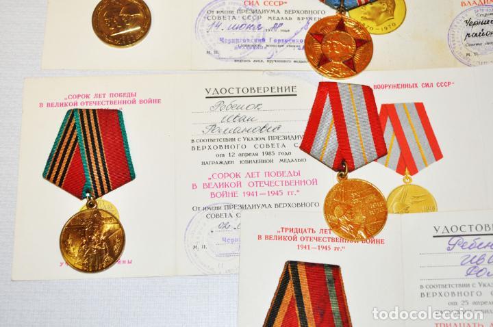 Militaria: Lote 5 medallas sovieticas para un veterano de SGM. Rebenok .con papeles .URSS - Foto 4 - 232493420