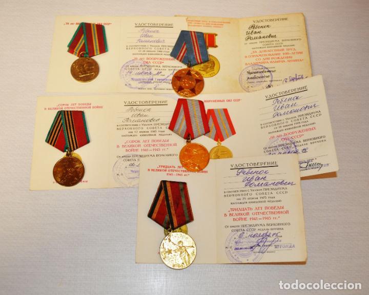 LOTE 5 MEDALLAS SOVIETICAS PARA UN VETERANO DE SGM. REBENOK .CON PAPELES .URSS (Militar - Medallas Internacionales Originales)