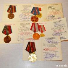 Militaria: LOTE 5 MEDALLAS SOVIETICAS PARA UN VETERANO DE SGM. REBENOK .CON PAPELES .URSS. Lote 232493420