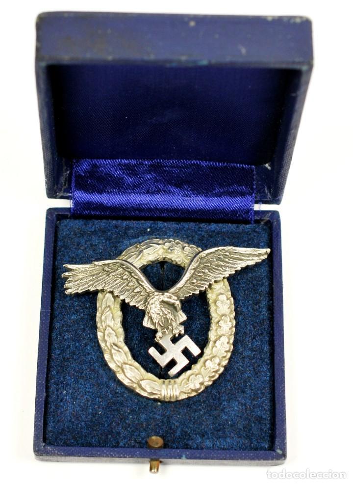 INSIGNIA TEMPRANA DE PILOTO DE LA LUFTWAFFE DE C.E JUNCKER, BERLIN EN SU ESTUCHE (Militar - Medallas Internacionales Originales)