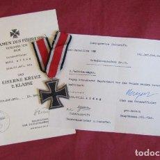 Militaria: MEDALLA ALEMANA II SEGUNDA GUERRA MUNDIAL CRUZ DE HIERRO II CLASE CON DIPLOMA TODO 100% ORIGINAL. Lote 214036885