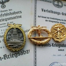 Militaria: LOTE 3 INSIGNIAS KRIEGSMARINE GOLD TERCER REICH. Lote 238859840