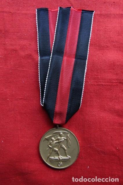 MEDALLA CONDECORACIÓN ALEMANA ANEXIÓN DE LOS SUDETES II SEGUNDA GUERRA MUNDIAL III REICH ALEMÁN (Militar - Medallas Internacionales Originales)